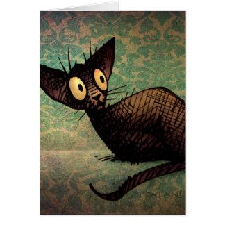 Cute Black Oriental Cat Card