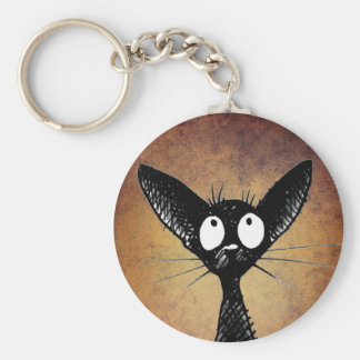 Cute black oriental cat keychain