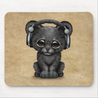 Cute Black Panther Cub Dj Wearing Headphones Mouse Mat