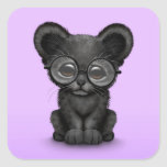 Cute Black Panther Cub Wearing Glasses on Purple Square Sticker