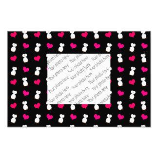 Cute black penguin hearts pattern art photo