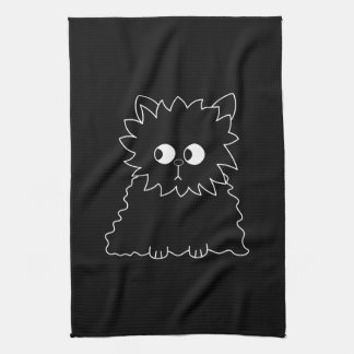 Cute Black Persian Cat. Tea Towel