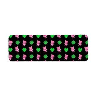 Cute black pig shamrocks pattern
