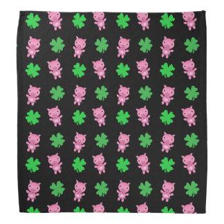 Cute black pig shamrocks pattern bandana
