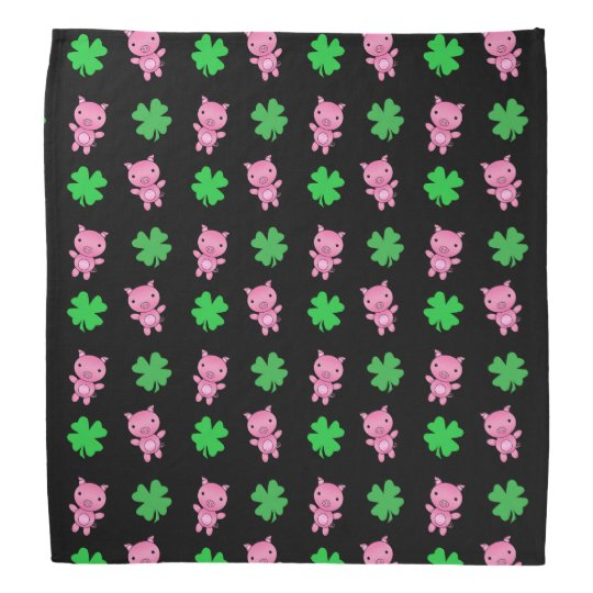 Cute black pig shamrocks pattern bandana
