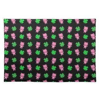 Cute black pig shamrocks pattern placemats