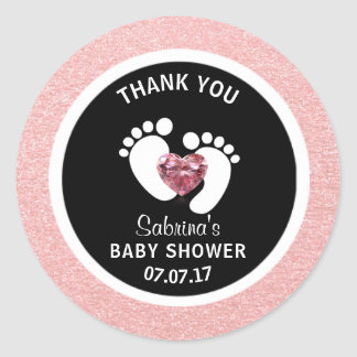Cute Black Pink Baby Feet Baby Shower Girl Favor Classic Round Sticker
