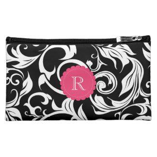 Cute Black Pink Floral Wallpaper Swirl Monogram Makeup Bag