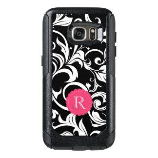 Cute Black Pink Floral Wallpaper Swirl Monogram OtterBox Samsung Galaxy S7 Case