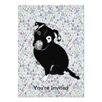 Cute Black Pitbull Puppy on Raindrops Pattern 13 Cm X 18 Cm Invitation Card