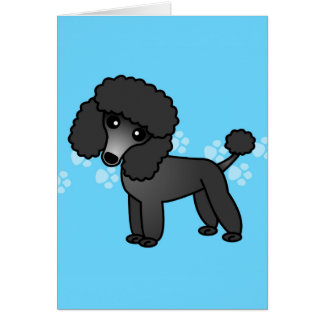 Cute Black Poodle Cartoon Card