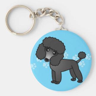 Cute Black Poodle Cartoon Key Ring
