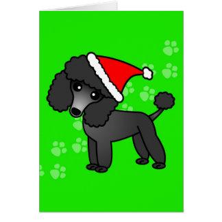 Cute Black Poodle Cartoon Santa Hat Card