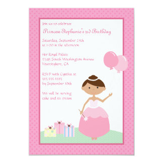 Cute black princess birthday party invitation