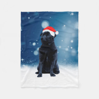 Cute Black Pug Dog Christmas Santa Hat Snow Stars Fleece Blanket