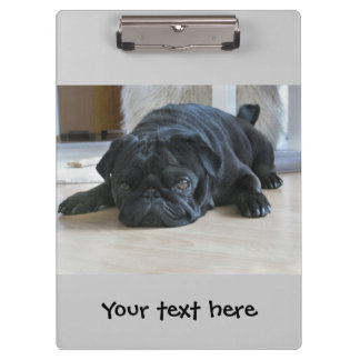 Cute Black Pug Puppy Clipboard