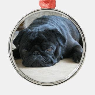 Cute Black Pug Sleeping Christmas Ornament