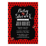 Cute Black & Red Dots Ladybugs Baby Shower Custom Invites