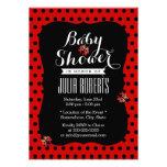 Cute Black & Red Dots Ladybugs Baby Shower Custom Invitation