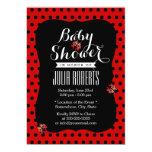 Cute Black & Red Dots Ladybugs Baby Shower Custom Invites