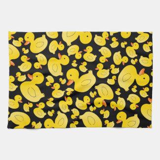Cute black rubber ducks tea towel