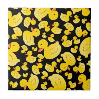 Cute black rubber ducks ceramic tile
