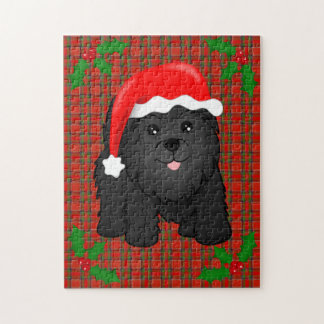 Cute Black Scottish Terrier Puppy Dog Christmas Jigsaw Puzzles