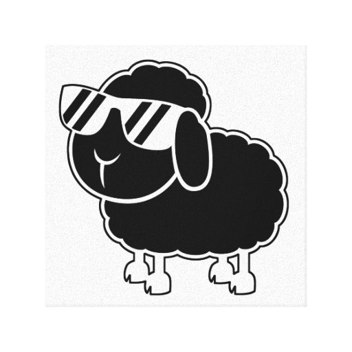 Cute Black Sheep Cartoon Stretched Canvas Print