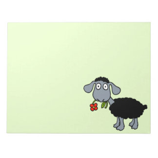 Cute Black Sheep Cartoon Lamb with Red Flower Notepad