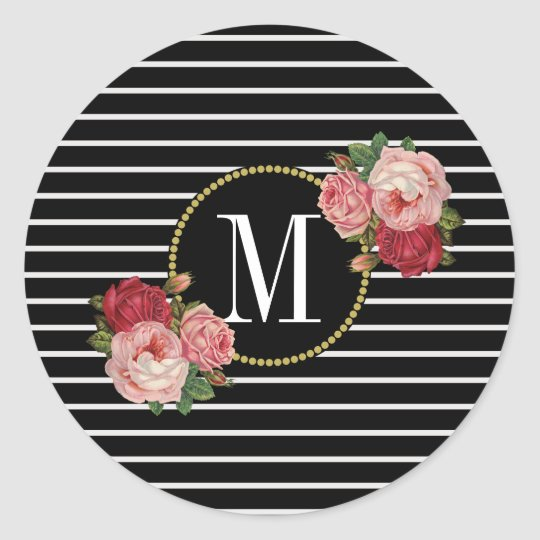 Cute Black Striped Modern Floral Gold Monogram Classic Round Sticker