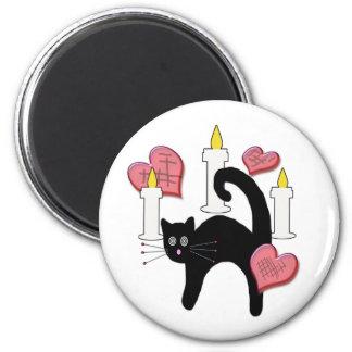 Cute Black Voodoo Cat Love Charm Magnet