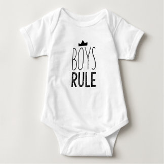 Cute black white baby bodysuit - boys rule quote
