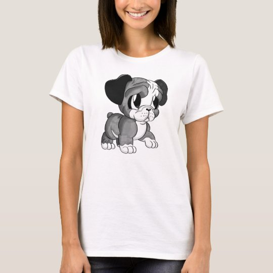 Cute Black & White Bulldog Art Women's T-Shirt