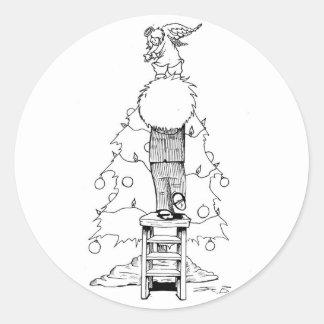 Cute black & white Christmas character Round Sticker