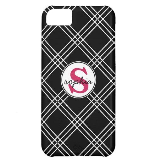 Cute Black White Criss Cross Hot Pink Monogram iPhone 5C Covers