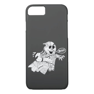 Cute black white floral ghost with boo Halloween iPhone 7 Case