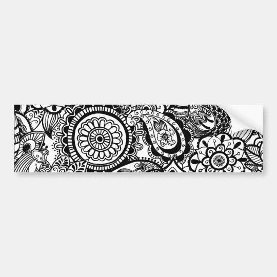 Cute black white floral paisley bumper sticker