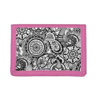 Cute black white floral paisley trifold wallet