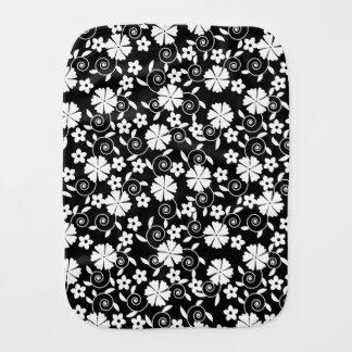 Cute black white flowers patterns burp cloth