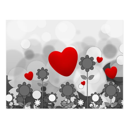 Cute Black/White/Grey Flowers w/Big Red Heart Postcard