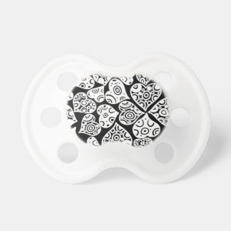 Cute black white hearts background design baby pacifiers