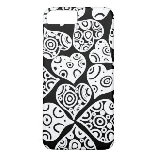 Cute black white hearts background design iPhone 7 plus case