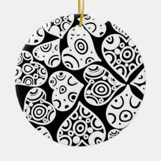 Cute black white hearts love pattern round ceramic decoration