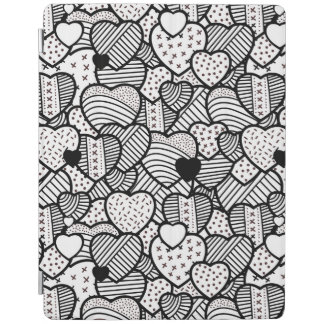 Cute black white hearts patterns iPad cover