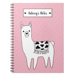 Cute Black & White Llama Sketch & Dots Notebooks