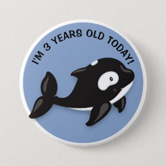 Cute Black White Orca Birthday Button