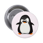 Cute Black  White Penguin And  Funny Moustache 6 Cm Round Badge