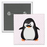 Cute Black  White Penguin And  Funny Moustache 15 Cm Square Badge