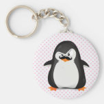 Cute Black  White Penguin And  Funny Moustache Basic Round Button Key Ring