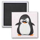 Cute Black  White Penguin And  Funny Moustache Magnet